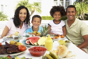 Picture of Family Eating Meal Outside